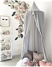 Kids Cotton Bed Canopy, Cotton Mosquito Net, Kids Princess Play Tents, Room Decoration for Baby