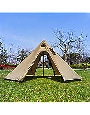 Outdoor Tenten tipi Tent Waterdicht Vier Seizoenen Familie Piramide Tent Camping Backpacken Wandelen Bergbeklimmen Verwarmde Onderdak Smokey Schoorsteen Gemakkelijk Set Up D400*H220cm (Bruin)