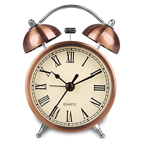Hersent Retro Twin Bell Alarm Clock Vintage Non Ticking