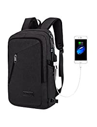 Mancro Slim Laptop Backpack, Business Computer Bag with Headphone Port, Anti Theft Travel Bag with USB Charging Hole for College Students, Fits less than 17 inch Laptop / Notebook (Black)