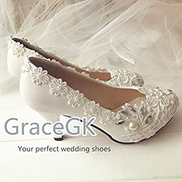467017a6053395 JINGXINSTORE Lace White Crystal Wedding Shoes Bridal Low High Heel Pump  Size 3-10