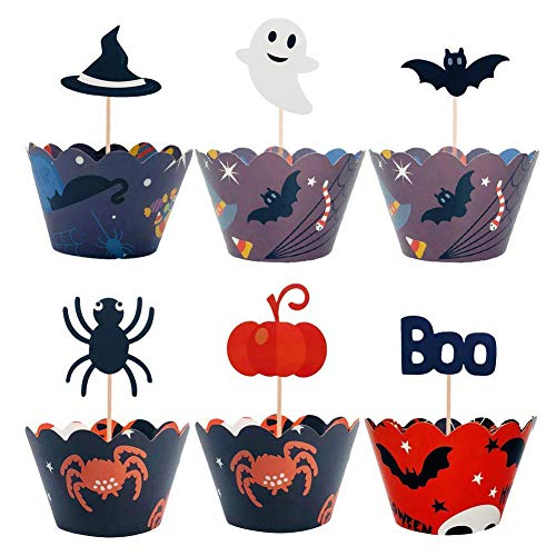 Happy Halloween Theme Cake Wrapper Cupcake Toppers Cartoon Skull Bat Pumpkin Spider Ghost Wizard Hat Boo Bat For Horrible Party Decoration Wrap 24 Pack -