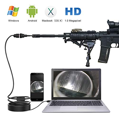 """ScopeAround Rifle Borescope, 0.2 inch Gun Barrel Borescope Gun Inspection Camera with Refracting Mirror for Gun Cleaning and Maintenance, 40"""" Semi-Rigid Cable for Windows, Mac and Android Devices"""