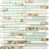 2017 NEW!!Light green glass mix stone&shell tiles, Modern style Kitchen Backsplash tiles/ Bathroom home wall decoration mosaic tiles sticker,LSBK51 (22 sheets/ 2m²/ 21.53sq.ft)