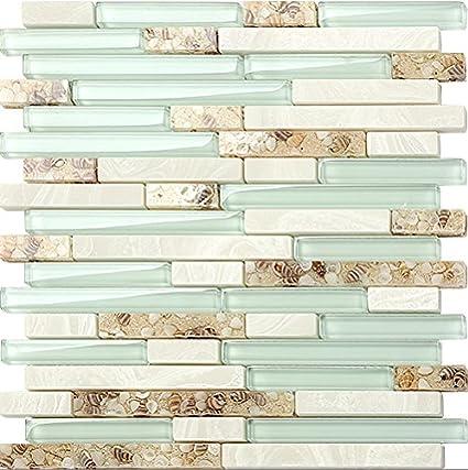 Beach Style 48D Glass Tile Mother Of Pearl Shell Resin Kitchen Interesting Resin Backsplash Ideas