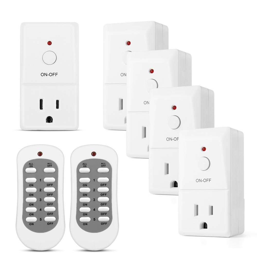 Flexzion Wireless Remote Control Outlet Switch (5 Pack 2 Remotes) - Electrical Remotely AC Power Adapter Socket Plug On and Off Converter Kit For Indoor Home Light Lamps Household Appliance