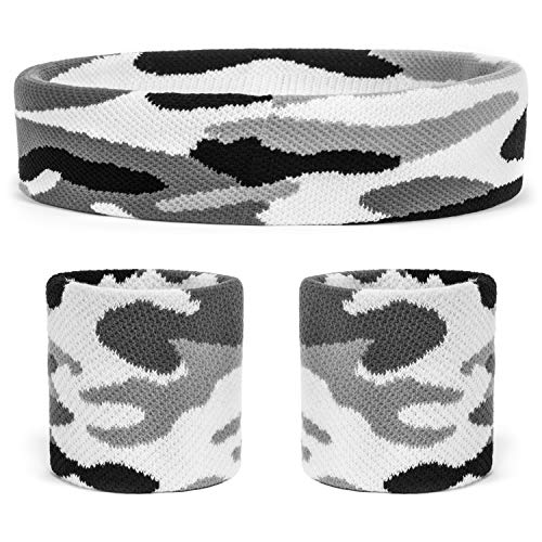 (Suddora Camo Headband/Wrist Band Set - Camouflage Sweatbands for Basketball, Tennis, Working Out, Gym (White))