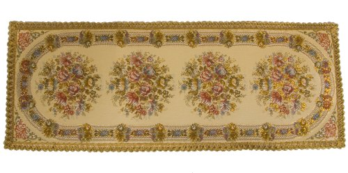 Table Runner in Brocade, Rectangular 14 Inches By 37 Inches Lavish Floral and Gold Border, Swiss Made