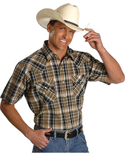 Ely Cattleman Men's Assorted Plaid Or Stripe Short Sleeve Western Shirt Big Plaid XX-Large Tall