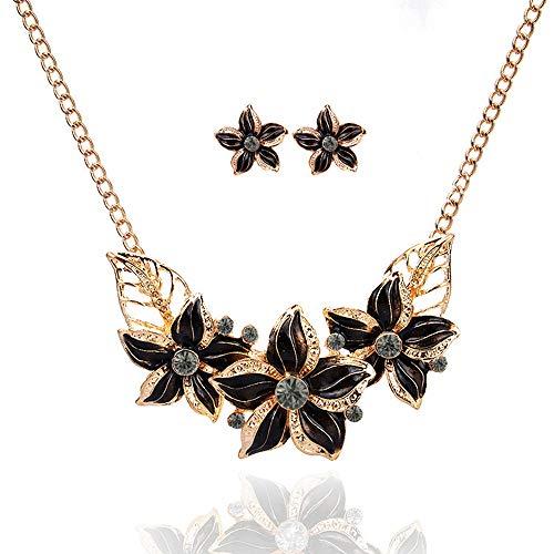 Superassure, jewelry box shiny golden alloy shiny rhinestone,plated necklace earrings jewelry set