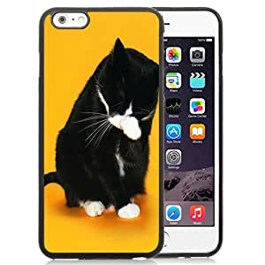 New Personalized Custom Designed For iPhone 6 Plus 5.5 Inch Phone Case For Black Cat Washing Her Face Phone Case Cover