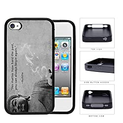Buddha Inspirational Statue Stone Quote Grey iPhone 4 4s Rubber Silicone TPU Cell Phone Case