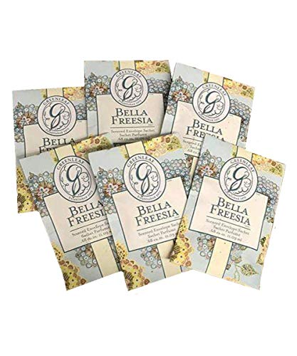 (GREENLEAF Fragrant Small Sachet Scented Envelopes Drawer Liners, Room and Car Freshener Set of 6 (Bella Freesia))