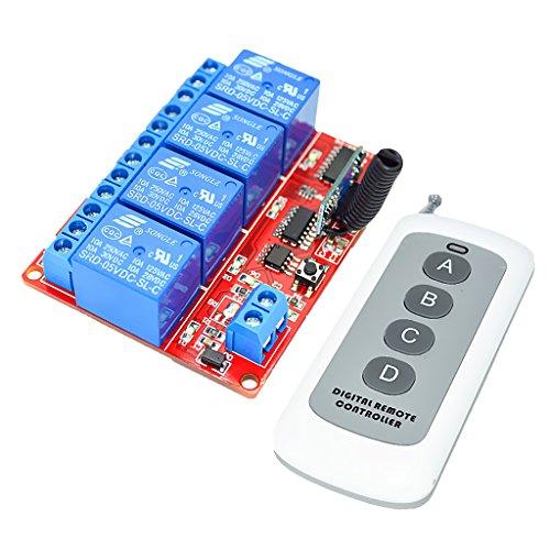 MonkeyJack 5V 4 CH Auto Wireless Remote Control Module Relay Switch Receiver 433MHz - Wireless 4 Ch Receiver Module