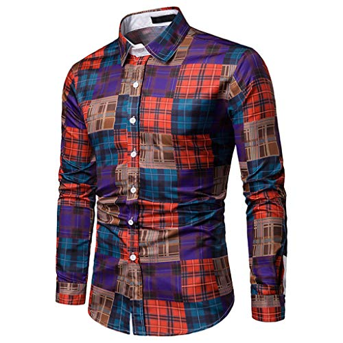 Sunmoot Classic Patchwork Plaid Dress Shirts for Mens for Work Long Sleeve Lattice Top Blouse ()