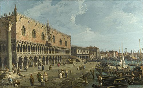 The High Quality Polyster Canvas Of Oil Painting 'Canaletto Venice The Doge's Palace And The Riva Degli Schiavoni ' ,size: 10 X 16 Inch / 25 X 41 Cm ,this Reproductions Art Decorative Prints On Canvas Is Fit For Kids Room Decoration And Home Decoration And Gifts