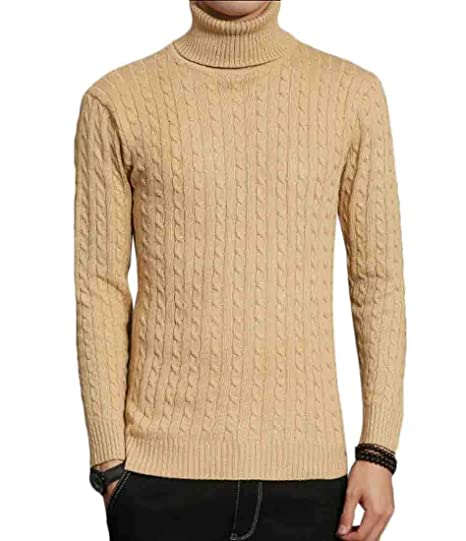 Jumper-Knitwear Turtleneck Sweater Knit Long Sleeve Cable Tops Mens Pullover