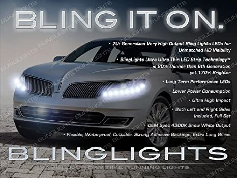 Amazon.com: Lincoln MKS LED DRL Head Lamp Light Strips Day ... on