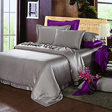 Orifashion Limited Edition 7 Piece 100 Silk Stylish Silver Grey Solid Color Bedding Set Queen Size