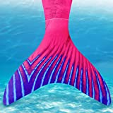 Mayskey Mermaid Tail For Swimming With Monofin - Mermaid Tail Swimsuit For Girls 2PCS Sets (Red 5, Child 110(4-5Years))