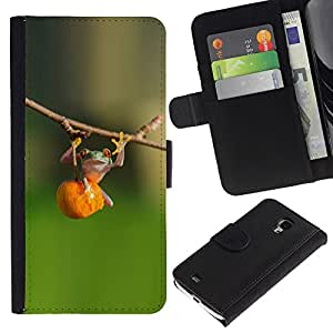 For Samsung Galaxy S4 Mini i9190 MINI VERSION!,S-type® Animal Cute Green Forest Fitness - Dibujo PU billetera de cuero Funda Case Caso de la piel de la bolsa protectora