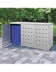 vidaXL Containerberging Drievoudig 240 L Roestvrij Staal Klikokast Schuurtje