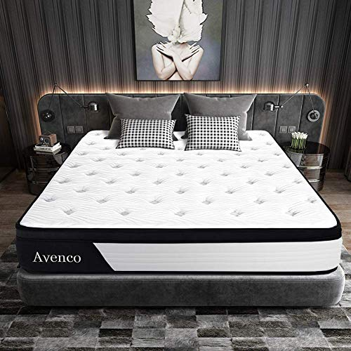 Queen Mattress, Avenco Hybrid Mattress Queen, 10 Inch Innerspring and Gel Memory Foam Mattress in a Box, with CertiPUR-US Foam for Supportive, Pressure Relief & Cooler Sleeping, 10 Years Warranty