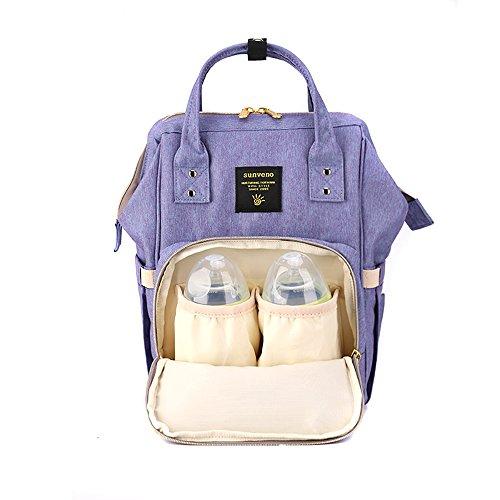 Sunveno Medium Mummy Backpack Travel Bag Multifunction Baby Diaper Nappy Changing Handbag Size M Changing Handbag (Purple)