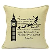 Presents Gifts For Teens Kids Boys Girls Peter Pan Lovers Fans Birthday Christmas Xmas Vintage So Come With Me Cushion Cover 18 Inch 45 Cm Home Decorations