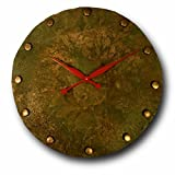 Oversized Copper Wall Clock 24-inch - Round Decorative Rustic Metal Original - Silent Non Ticking Quartz for Home