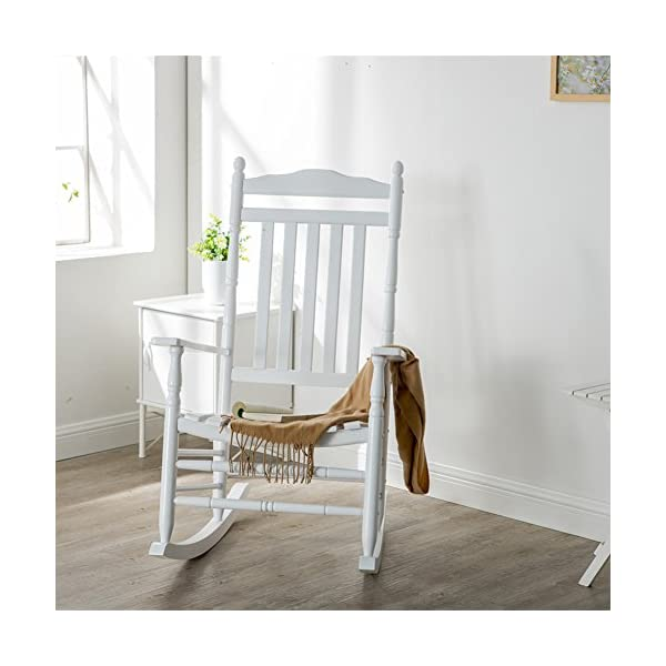 B&Z KD-22W Wooden Rocking chair Porch Rocker White Outdoor Traditional Indoor