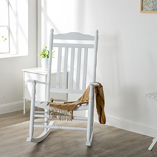 B&Z KD-22W Wooden Rocking chair Porch Rocker White Outdoor Traditional Indoor by B&Z (Image #1)