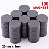 Skilled Crafter Industrial Strength Magnets. Hold Up To 8 Pieces Of Paper On Your Fridge - 100 In A Box - Round Ceramic Ferrite Discs. About The Diameter Of A Nickel