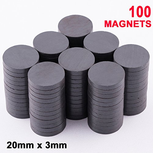strial Strength Magnets. Hold Up To 8 Pieces Of Paper On Your Fridge - 100 In A Box - Round Ceramic Ferrite Discs. About The Diameter Of A Nickel (About Ceramic)