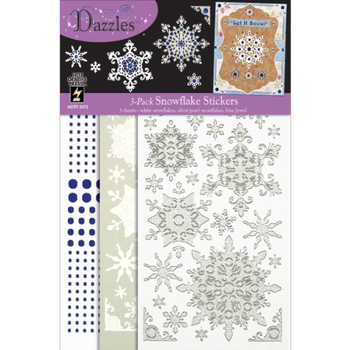 Hot Off The Press Mix 'Ems Tricolor Dazzles Stickers with White/Silver Snowflakes/Blue Jewels, 3-Pack by Hot Off The Press