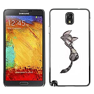 PC/Aluminum Funda Carcasa protectora para Samsung Note 3 N9000 N9002 N9005 cute cat kitten minimalist gay drawing / JUSTGO PHONE PROTECTOR