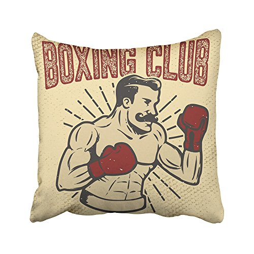 Emvency Decorative Throw Pillow Covers Cases Fashioned Boxing Club Vintage Style Boxer on Grunge Design Emblem Old Gentleman Retro Athlete 16x16 inches Pillowcases Case Cover Cushion Two (Old Fashioned Halloween Stickers)