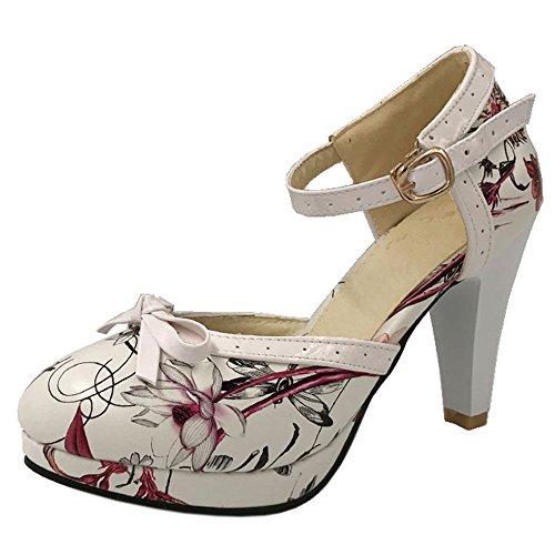 Flower Bride Rond Ferme Femme Sandales Escarpins Ete Floral Cheville Talon Mode haut Red Bout TAOFFEN 4I6twxq8I