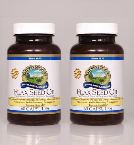 Nature's Sunshine Flax Seed Oil w/Lignans 60 Softgel Capsules (Pack of 2)