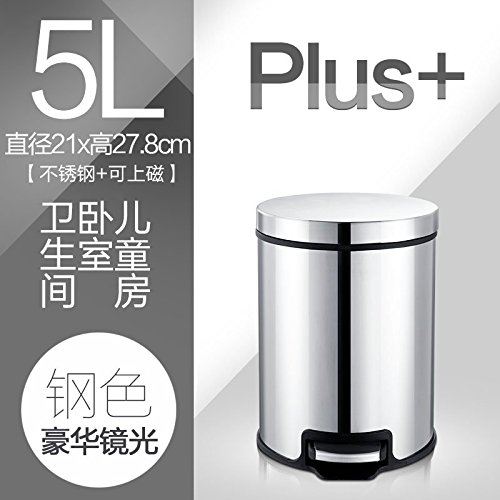 Dustbins fuckluyKitchen stainless steel stepbin home foot mute parachute covered health ,5L steel deluxe mirror plus by fuckluy