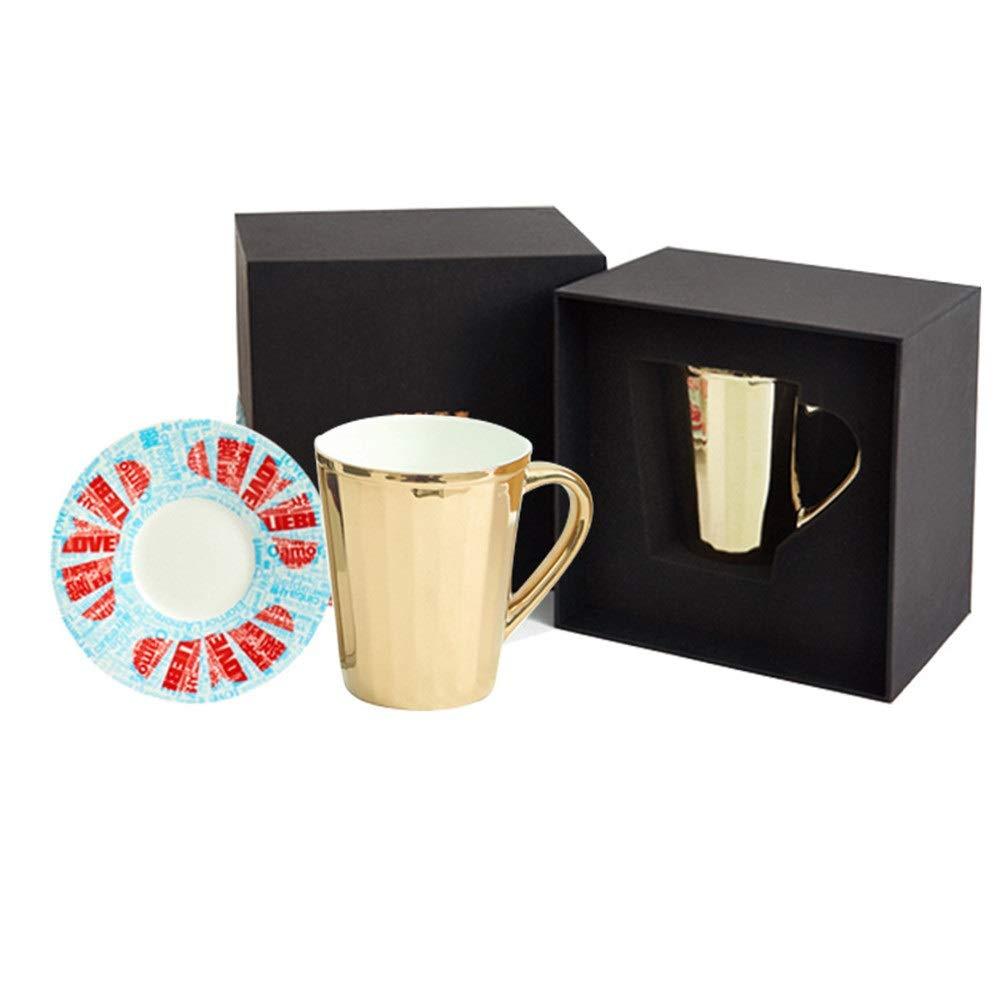 Bone china cup set creative gift to send goddess girlfriends bone china coffee cup (Color : Blue)