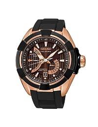 Seiko Men's Velatura SRH020 Black Silicone Seiko Kinetic Watch with Brown Dial