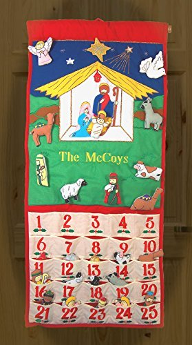 Pockets of Learning Personalized Traditional Nativity Advent Calendar, Holiday Décor, Crèche Manger Scene, Christmas Fabric Wall Hanging, Seasonal Cloth Countdown