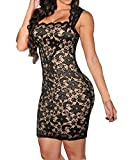 Sexy Womens Lace Sleeveless Nude Illusion Cocktail Party Pencil Mini Dress
