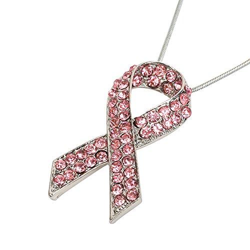 Women's Awareness Pink Ribbon Necklace Girls's Trendy Jewelry (Awareness Pink (Cancer Awareness Symbol)