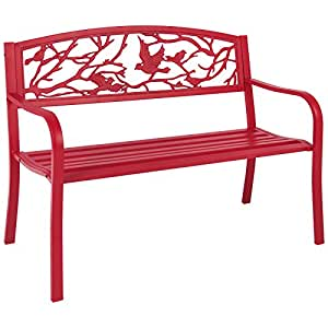 Rose Red Steel Patio Garden Park Bench Outdoor Living Patio Furniture