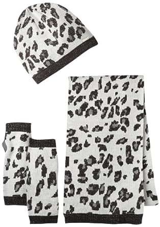 Calvin Klein Women's Leopard Print Beanie, Scarf and Fingerless Glove Set, Creme, One Size