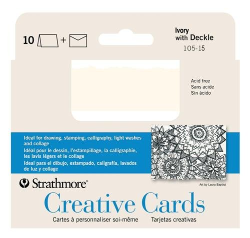 Strathmore STR-105-15 10 Sheet Ivory Deckle Announcement Card ()