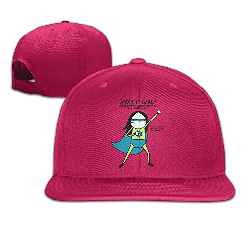 Yishuo Men's Anxiety Girl By Natalie Dee Casual Style Golf Red Hats Adjustable Snapback