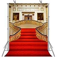 FUERMOR 5x7FT Red Carpet Stairs Golden Hall Photography Backdrop For Wedding Events Photo Shooting Props Wall Mural R191
